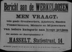 Hasselt, affiche - werklieden gevraagd, goede vergoeding.