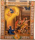 Engel met zwaard en kelk – vluchtende mensen,