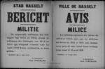 Stad Hasselt, affiche van 6 april 1919 - aanvraag voor uitstel of vrijstelling voor miliciens van lichtingen 1912-1915.