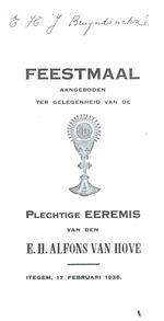 Menukaart plechtige eremis E.H. Alfons Van Hove