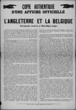 Brussel, affiche - Britse vooroorlogse plannen om in geval van oorlog in te grijpen in België.