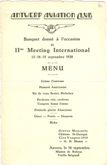 Menukaart 11de Internationale Meeting Antwerp Aviation Club