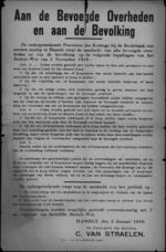 Hasselt, affiche van 4 januari 1919 - bevoorrading en bestraffing van woeker.
