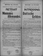 Affiche van 7 december 1918 - maatregelen inzake intrekking Duitse betaalmiddelen.