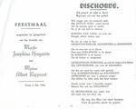 Menukaart huwelijk Josephina Hoegaerts - Albert Rappoort