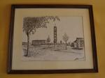 Tekening met voorstelling van Heilig Kruiskerk te Runkst