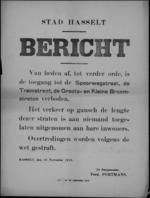 Stad Hasselt, affiche van 19 november 1918 - verbod op verkeer in Spoorwegstraat, Tramstraat, Groote en Kleine Breemstraat.