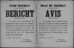 Stad Hasselt, affiche van 8 mei 1919 - leden van de burgerwacht als krijgsgevangene geïnerneerd kunnen een vergoeding aanvragen.