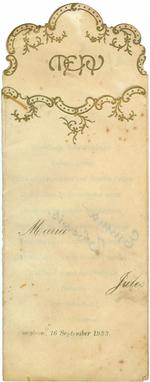 Menukaart huwelijk Maria - Jules