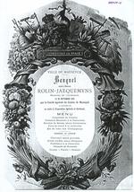 Menukaart banket voor Dhr. Rolin-Jaequemyns door Comité Agricole Maaseik