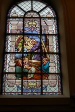 Glas-in-loodraam 'Jezus in de hof van Olijven'.