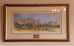 Tekening van het Hugenotenmonument in het dorpje Franschhoek te Zuid-Afrika