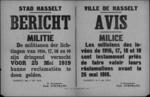 Stad Hasselt, affiche van 5 mei 1919 - miliciens kunnen hun bezwaren kenbaar maken.