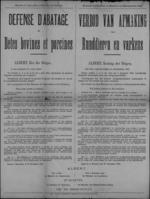 Brussel, affiche van 31 december 1918 - verbod op het afmaken van bevruchte runderen en varkens, elke noodslachting rechtvaardigen.