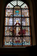 Glas-in-loodraam 'de Heilige Martinus'.