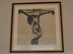 Tekening met voorstelling van gekruisigde Christus