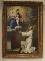 Heilige Bernardus van Clairvaux in aanbidding van Maria en het kind Jezus