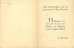 Uitnodiging huldiging Z.E.H. Janssens Doctor en Magister in de Godgeleerdheid