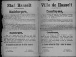 Stad Hasselt, affiche van 28 april 1919 - feestelijke herdenking van de slag van Merkem.