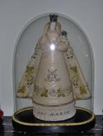 glazen stolp met beeld Onze Lieve Vrouw