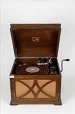 Grammofoon met ingebouwde luidspreker