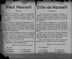 Stad Hasselt, affiche van 16 november 1918 - aanhoudingen wegens bezit van oorlogsmunitie.