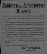 Hasselt, affiche van 11 november 1918 - Soldaten- en Arbeidersraad in Hasselt; overname gezag, regels verzekering openbare orde.