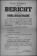 Stad Hasselt, affiche van 21 februari 1919 - aangeven van door de vijand weggenomen dieren.