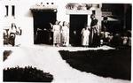 Foto: straatversiering: Huisje van Nazareth Zuivelmarkt (Virga Jessefeesten, Hasselt, 1947)