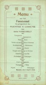 Menukaart plechtige communie Anna Vanrusselt