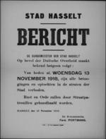 Stad Hasselt, affiche van 13 november 1918 - verbod op optochten in de stad.