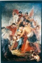 Jezus valt onder het kruis