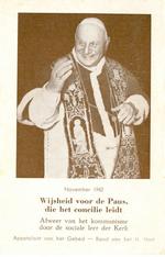 Bidprent 'Wijsheid voor de Paus, die het concilie leidt', november 1962.