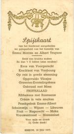 Menukaart huwelijk Emma Morren - Albert Truyens