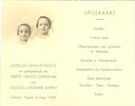 Menukaart eerste communie Cecile en Lutgardis Supply