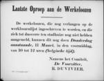 Hasselt, affiche - aanmelden van werklozen in het stadhuis.