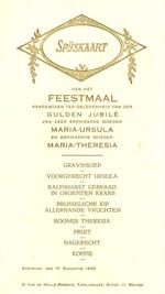 Menukaart gouden jubileum Maria-Ursula en Maria-Theresia