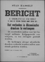 Stad Hasselt, affiche van 18 november 1918 - verbod op het verkopen van alcoholische dranken.