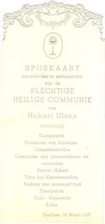 Menukaart plechtige communie Hubert Ulens