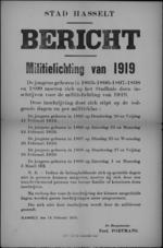 Stad Hasselt, affiche van 14 februari 1919 - modaliteiten voor inschrijving militielichting 1919.