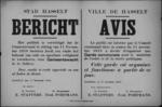 Stad Hasselt, affiche van 17 november 1918 - inrichting gemeentewacht.
