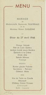 Menukaart huwelijk Raymonde Filliatreaud - Robert Duquesne