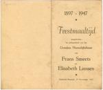 Menukaart 50ste huwelijksverjaardag Elisabeth Linssen - Frans Smeets