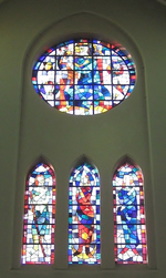 Maria met kind en drie heiligen