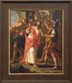 Schilderij kruisweg tweede statie