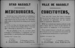 Stad Hasselt, affiche van 9 januari 1919 - dank aan de bevolking voor het onthaal van de vorst bij bezoek aan stad.