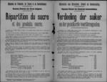 Brussel, affiche (van april 1919) - regeling en prijzen voor suiker en afgeleide producten.
