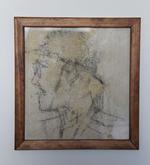 Potret van een man of soldaat met podlood op binnenmuur