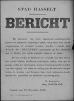 Stad Hasselt, affiche van 27 november 1919 - aangeven van schade aan veldvruchten.