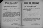 Stad Hasselt, affiche van 29 november 1918 - klaslokalen zuiveren, ontsmetten en witten voor heropening.